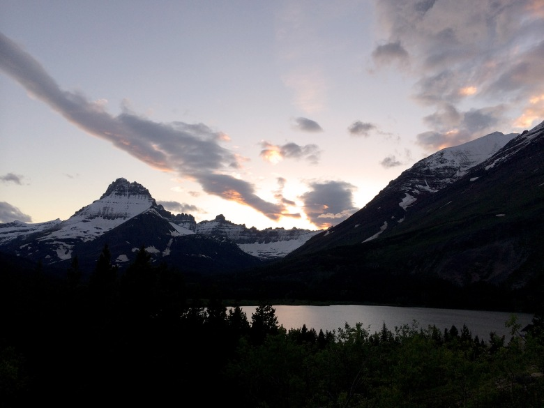 Sunset over Swiftcurrent Lake, Mt. Henkel and the Ptarmigan Wall